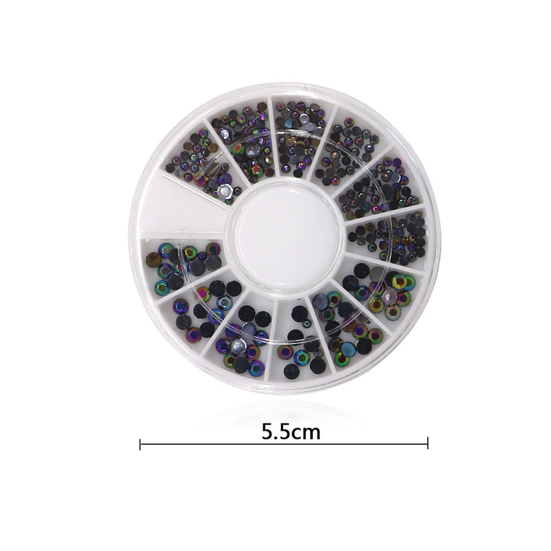 12 Grid Round Diamonds Disc Nail Ornament Nail Product AB Colorful Black And White With Pattern Acrylic Diamond Nail Sticker Nai