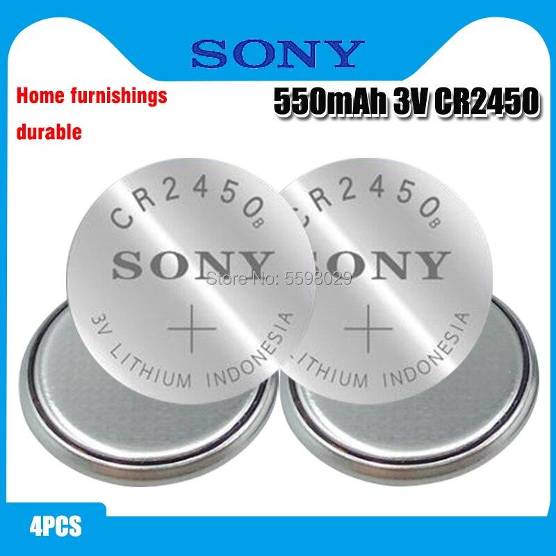 4 шт. оригинальный кнопочный Аккумулятор SONY CR2450 3 в литиевые батареи CR 2450 для часов пульт дистанционного управления игрушек компьютера кальк...