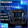 Автомагнитола, мультимедийный видеоплеер для Ford Focus 3 Mk 3 2011-2019, для стиля Tesla, GPS-навигация, 2 din, 4G, Android 9