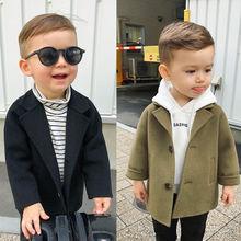 Зимние куртки однотонные шерстяные пальто для мальчиков Новинка года, Тренч с лацканами для маленьких мальчиков верхняя одежда для детей 2, 3, 4, 5, 6 лет, пальто ветровка для мальчиков