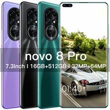 Mais novo 8 pro smartphone android 8gb ram 256gb rom 6800mah deca núcleo cpu telefone móvel 7.3