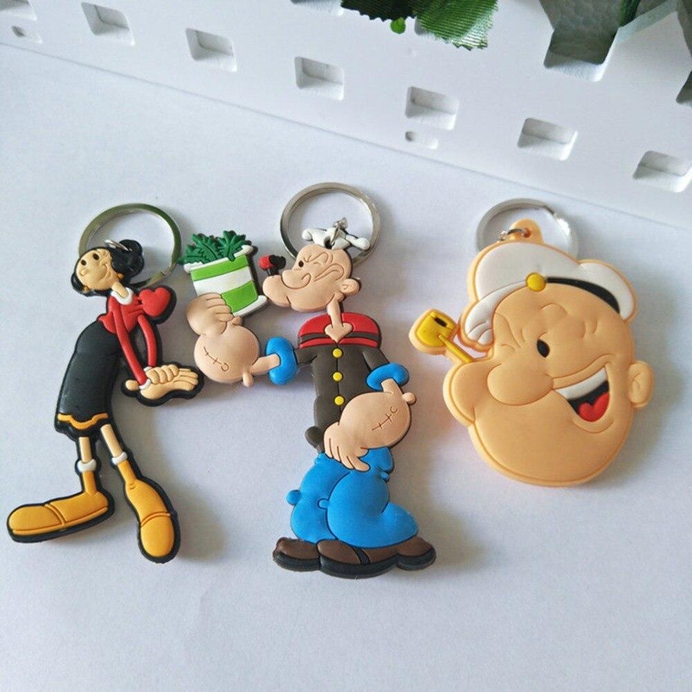 LLavero de PVC de dibujos animados de marinero Popeye, olivo, Bobbi cos, Anime clásico de moda, silicona para llaves, llavero colgante para bolso, joyería