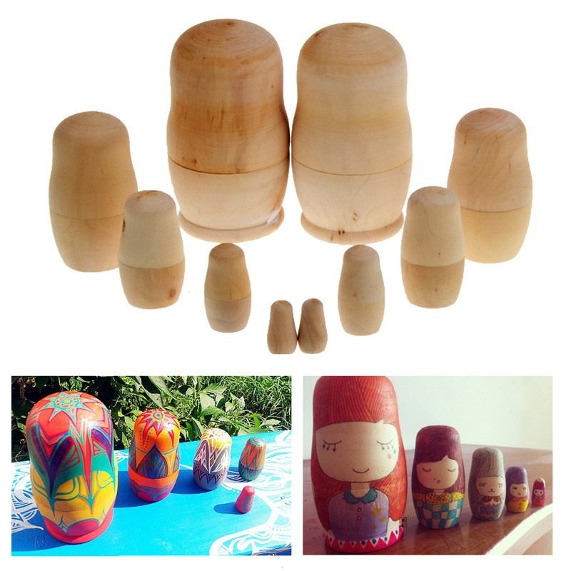 5pcs/lot Unpainted Matryoshka Doll DIY Blank Wooden Russian Nesting Dolls Matryoshka Gift Hand Paint Toys Gifts For Children