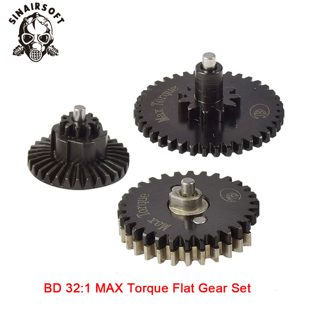Hot BD High Quality CNC 32:1 MAX Torque Flat Gear Set Fit Ver.2 / 3 AEG Airsoft Gearbox For Hunting Paintball Shooting