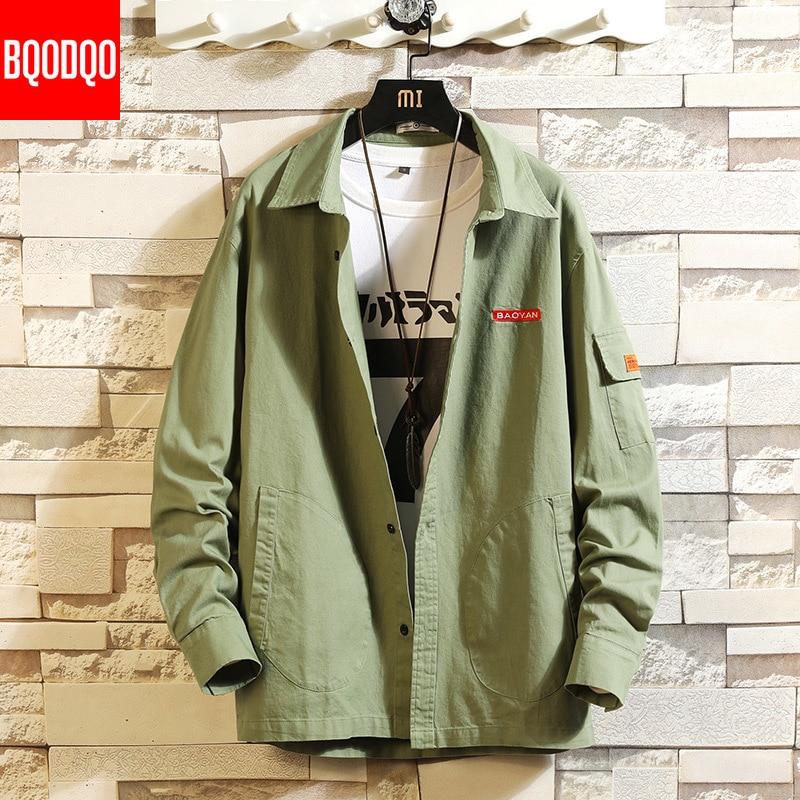 PLUS SIZE Cargo Shirt Men Cotton Autumn Fashions Streetwear Casual Blouse Tops Male 5XL Army Green Long Sleeve Military Shirts