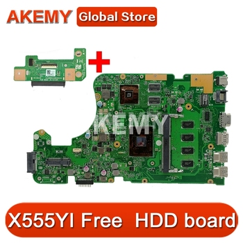 Akemy X555DG motherboard For ASUS X555DG A555DG X555YI laptop motherboard 4GB Test work 100% Free HDD board image