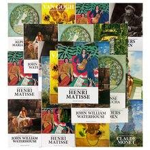 30 pçs/set série museu de arte artistas famosos inglês cartões postais ins estilo diy diário decoração cartão de presente van gogh
