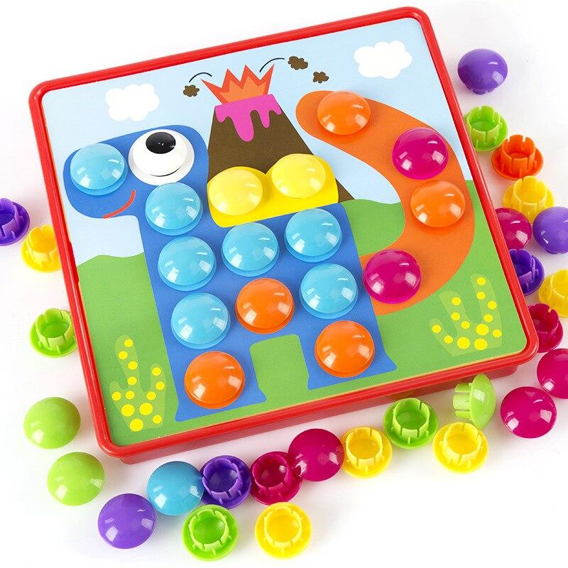 Детские 3D пазлы, игрушки, красочные кнопки, сборка грибов, гвозди, набор, Детская креативная мозаика, пазл, доска, развивающие игрушки|Пазлы|   | АлиЭкспресс