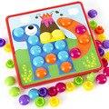 Детские 3D пазлы, игрушки, красочные кнопки, сборка грибов, гвозди, набор, Детская креативная мозаика, пазл, доска, развивающие игрушки