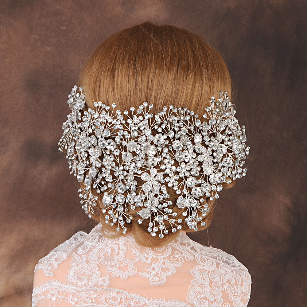 TRiXY H240-s Charming Rhinestone Headband Bridal Hair Accessory Silver Diamond Bride Headdress Hair Jewelry Wedding Headpieces