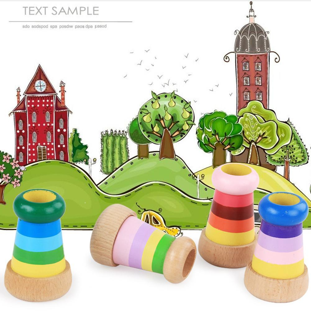 Kids Magic Kaleidoscope Toy Baby Wooden Classic Toy Children Learning Puzzle Funny Kaleidoscope Birthday Gifts Random Color