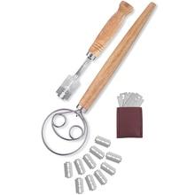 HLZS-хлеб Хромой и датский венчик набор-Премиум упаковка, нержавеющая сталь хлеб инструмент для подсчета очков с кожаной защитной крышкой 10 Replacea