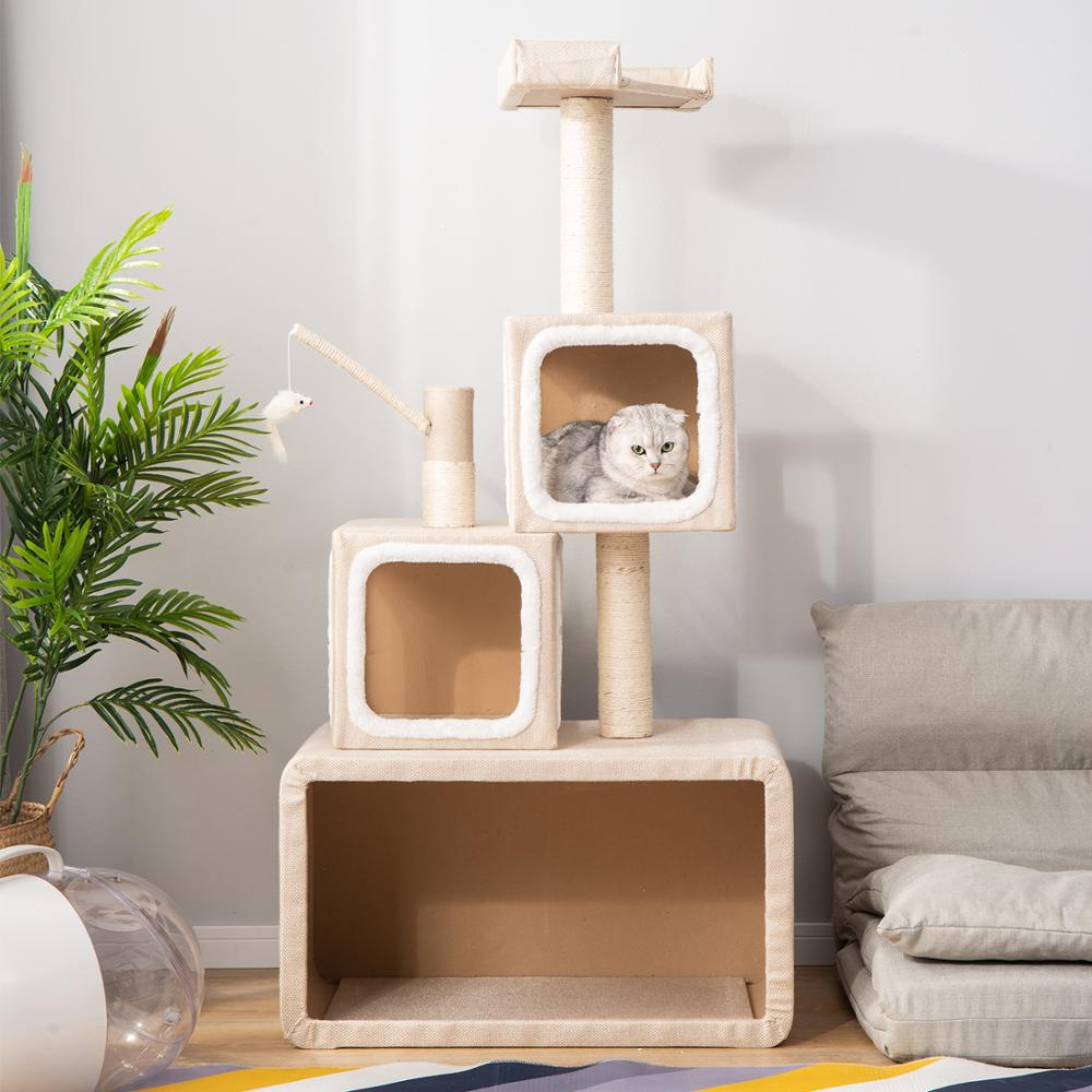 140cm <font><b>Cat</b></font> Scratcher Kitten <font><b>Tree</b></font> <font><b>Tower</b></font> Scratching Post <font><b>Pets</b></font> Climbing Activity Centre Play House Box Structure image