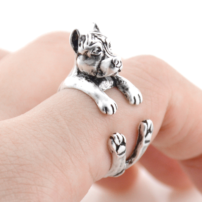 Fei Ye Paws Punk Pit Bull & Staffordshire Bull Terrier Dog Wrap Ring Men Puppy Animal Wedding Couple Rings For Girls Wholesale