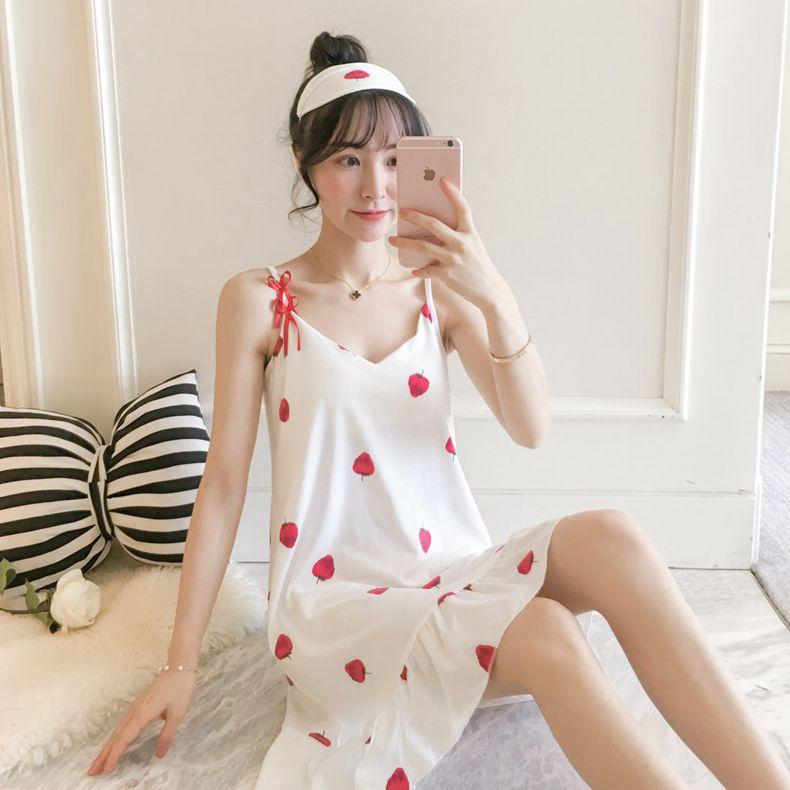 Hot Selling Strawberry Nightgown Women's Japanese Korean Slip Nightdress Pajamas Female Summer Thin Large Size With Eye Patch Ni