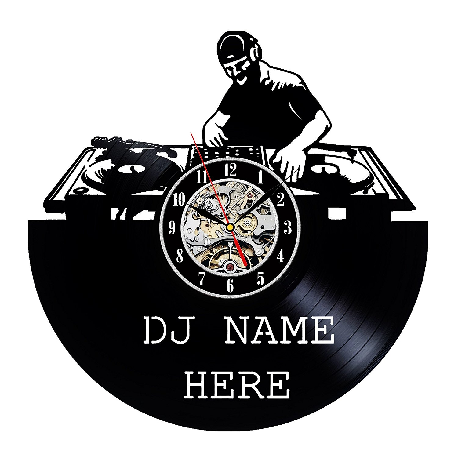 Vinyl Record Wall Clock Modern Design DJ Name Here Theme Clocks Vintage Retro Style Classic CD Wall Watch Home Decor 12 Inch