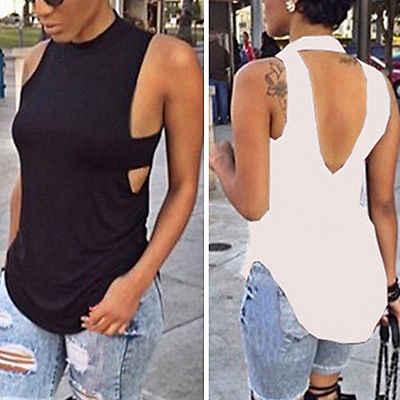 夏の作物はファッション女性レディースノースリーブ黒、白のベストトップノースリーブブラウスカジュアルトップス