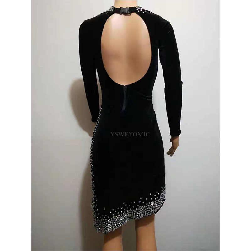 נוצץ Rhinestones שחור לטיני שמלת ריקוד תלבושת במה ללבוש ריקוד תלבושות נשף הצג למתוח תחרות לטיני שמלה לנשים