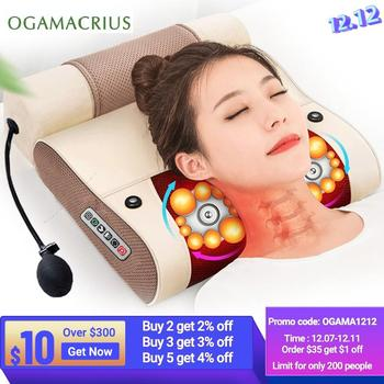 OGAMACRIUS 2 In1Massage Pillow Heat Vibrator Shiatsu Device Cervical Healthy Body Relaxation Massageador For Back Neck Massager jinkairui infrared heating neck shoulder back body electric massage pillow shiatsu device cervical health massageador relaxation
