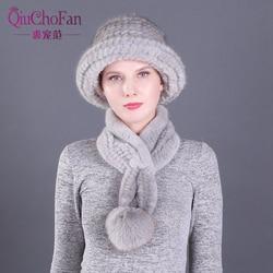 2 шт., женские зимние шапки из натурального меха норки, набор шарфов, вязаные женские теплые шапки из натурального меха норки с меховым шарфо...