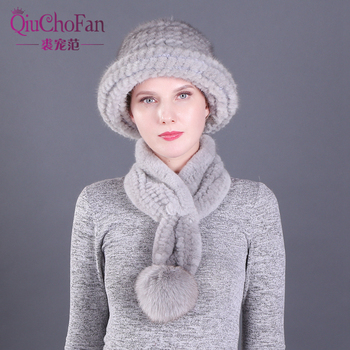 цена на 2 Pieces Lady Winter Genuine Mink Fur Bucket Hats Scarves Set Knitted Women Warm Natural Mink Fur Caps With Fox Fur Ball Scarf