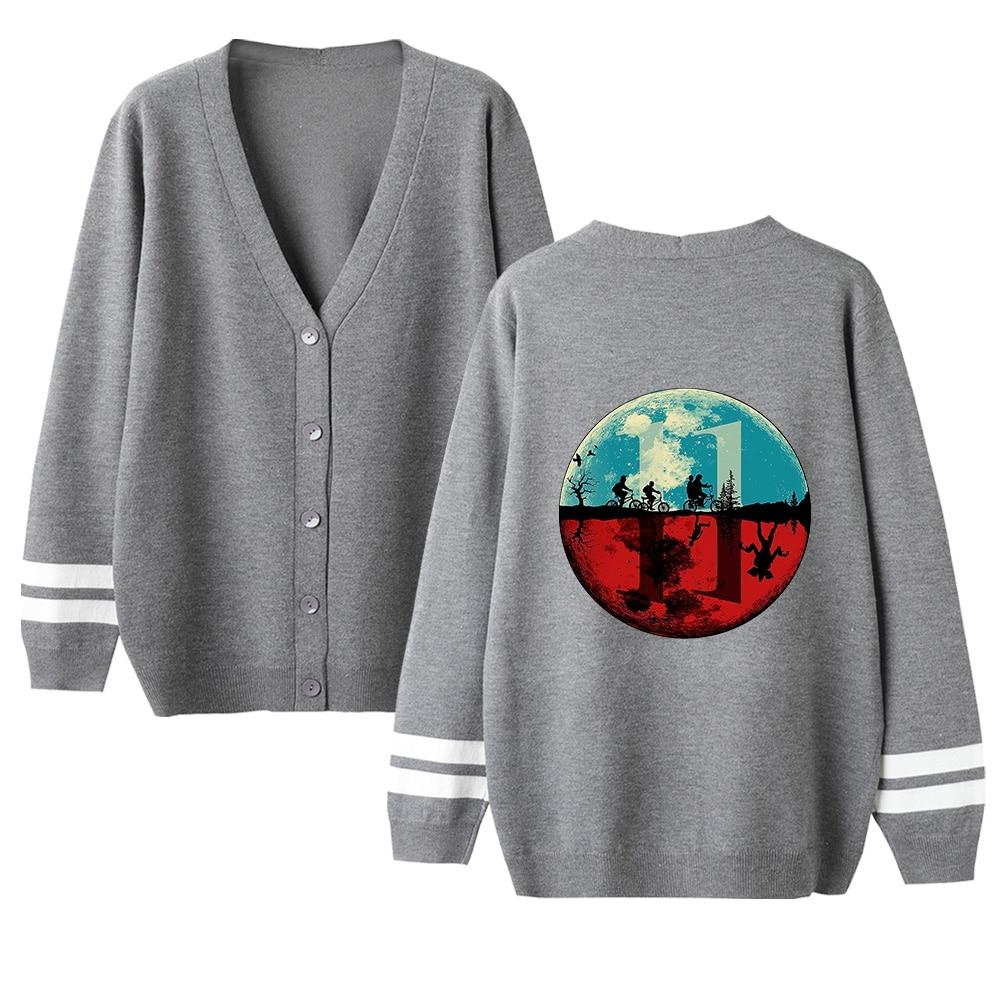Stranger Things V-neck Cardigan Sweater Men/women Fashion Print Gray Casual Harajuku Sweater Stranger Things Popular Casual Top