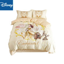 Disney Beauty and the Beast Belle Princess Bedding Sets for Girls Home Decor 600TC Cotton Bed Cover Single Twin Full Queen Size