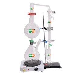 Nowy 2000ml Lab Essential Oil aparatura do destylacji parowej zestawy szklane destylator wody oczyszczacz w/gorący piec Graham skraplacz