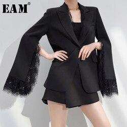 Женский блейзер EAM, черный кружевной свободный блейзер с длинным рукавом, 2020 1W51701