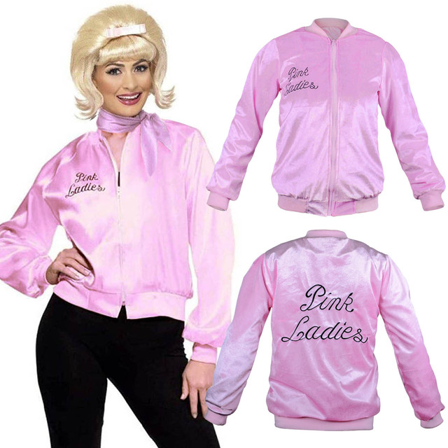 1950s Pink Ladies Jacket Women Girls Long Sleeve Pleuche Lightweight Bomber Jacket Grease Movie Halloween Family Costumes