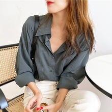 Bethquenoy полосатые рубашки свободные блузки для женщин 2020
