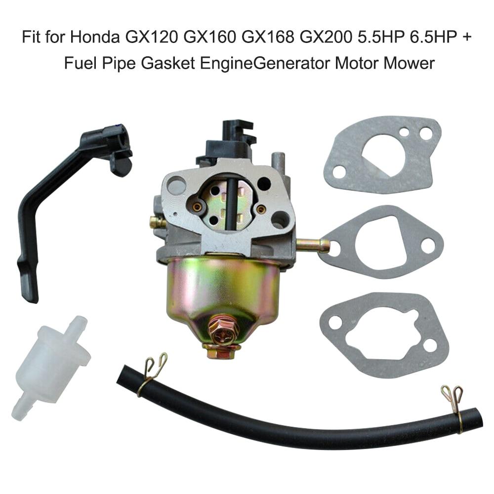 Карбюратор для газонокосилки, карбюратор для Honda GX120 GX160 GX168 GX200 5.5HP 6.5HP + прокладка топливной трубы, генератор двигателя, КАРБЮРАТОР