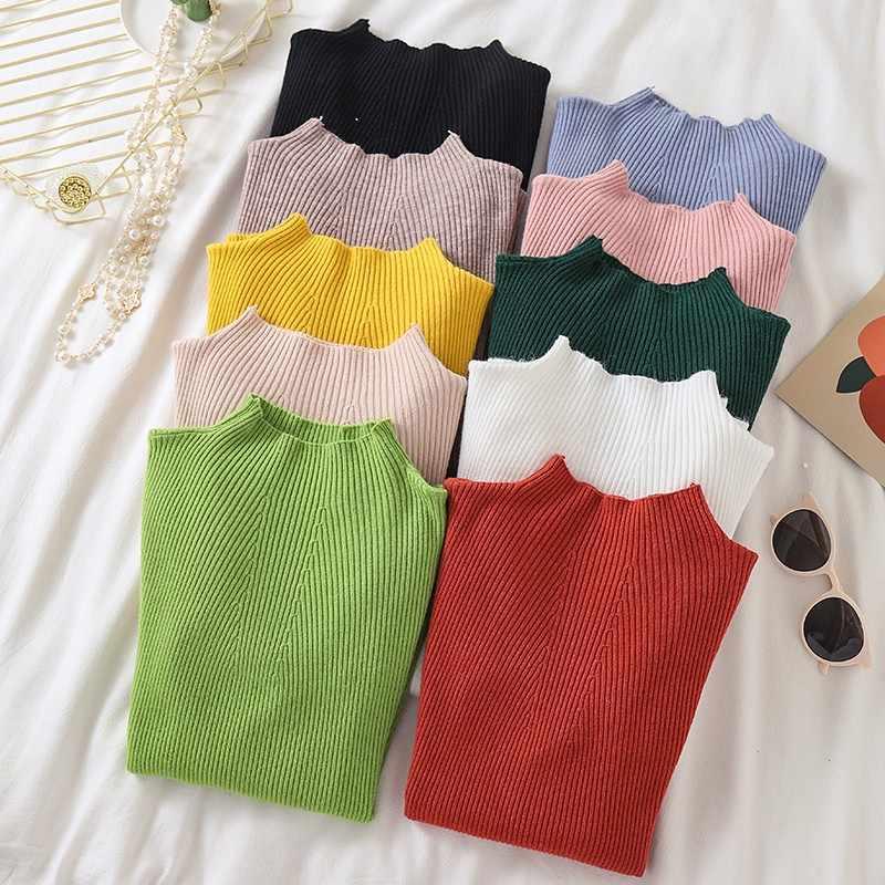 가을 한국 솔리드 컬러 스웨터 하프 하이 칼라 한국 슬림 피트 기본 bottoming 니트 점퍼 하라주쿠 옐로우 풀오버