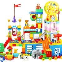 80 150pcs Sliding Compatible Blocks LegoINGlys Duploed City Roof Large Particle House Bricks Happy Building Blocks baby toys