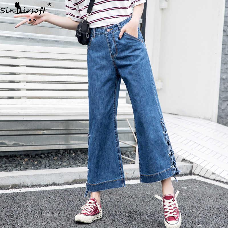 Casual Korean Wide-leg Pants Pants Large Size Loose Tie Trousers Trend Wild Mop 2019 Autumn Blue Women's Jeans