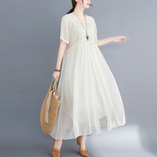 #0352 Plus Size Dress For Women Summer 2021 Elegant Embroidery Floral Loose A-line Pleated Midi Dresses Ladies Short Sleeves  2