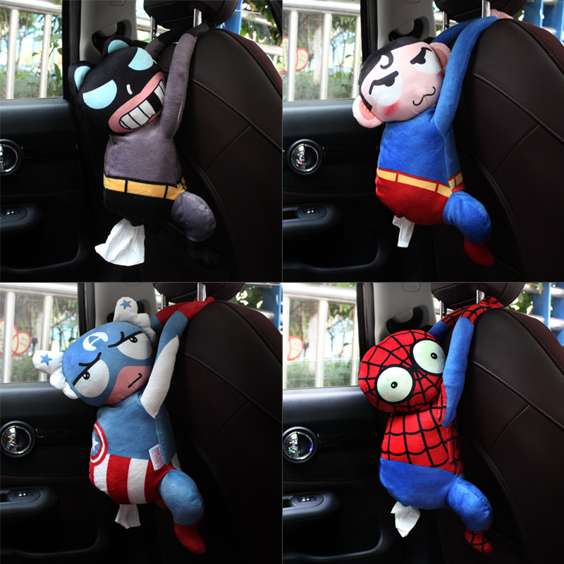 Superman Car Tissue Holder Back Seat Hanging Paper Box Plush Anime Spiderman Batman Armrest Napkin Organizer Case Storage Bags