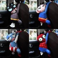Superman suporte de tecido do carro volta assento pendurado caixa de papel de pelúcia anime batman batman braço guardanapo organizador caso sacos de armazenamento Caixas de tecido     -