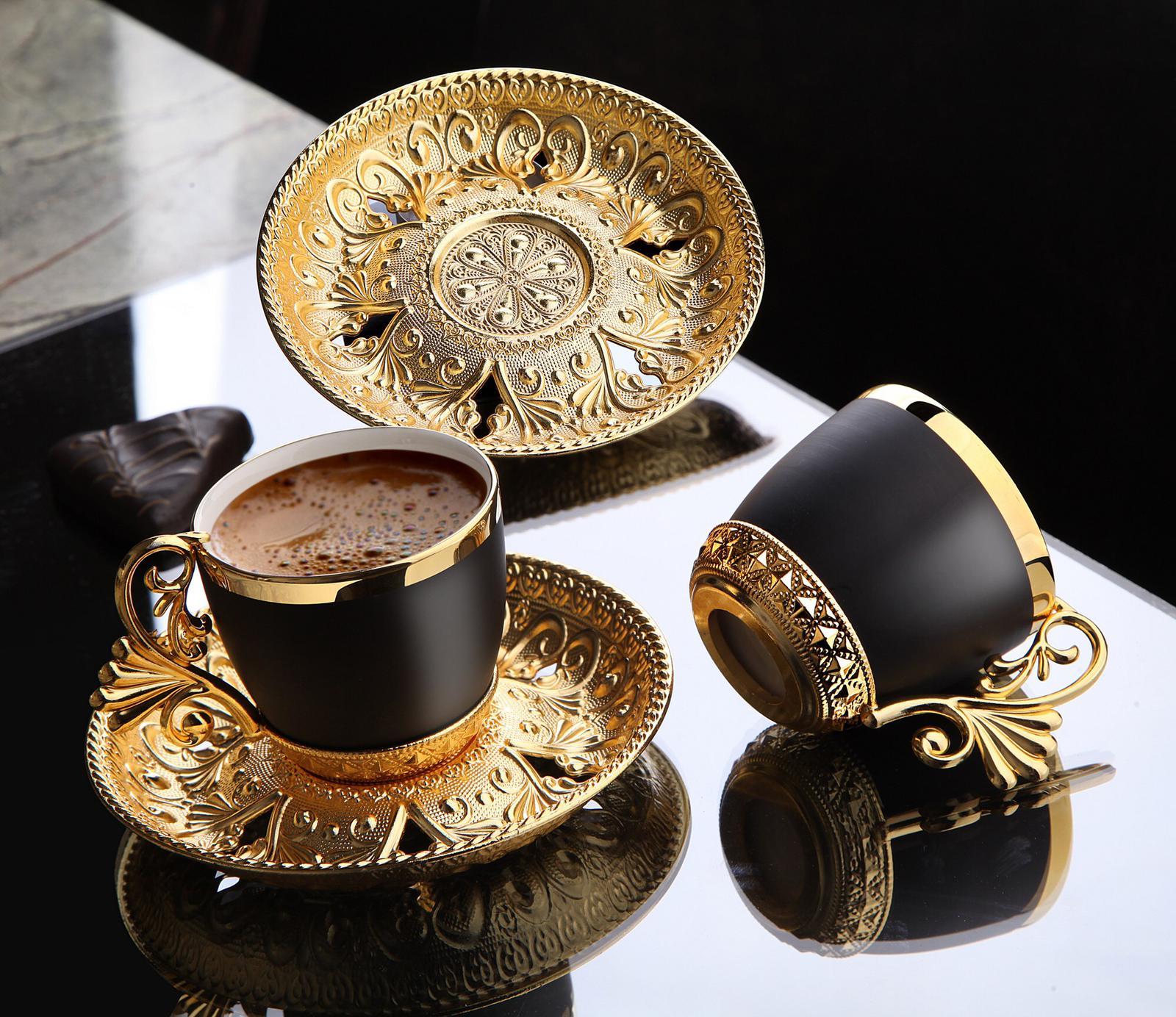 12 قطع التركية أكواب القهوة اسبرسو الخزف Demitasse كوب الصحن الأسود أكواب (الذهب) خمر العربية طقم هدايا