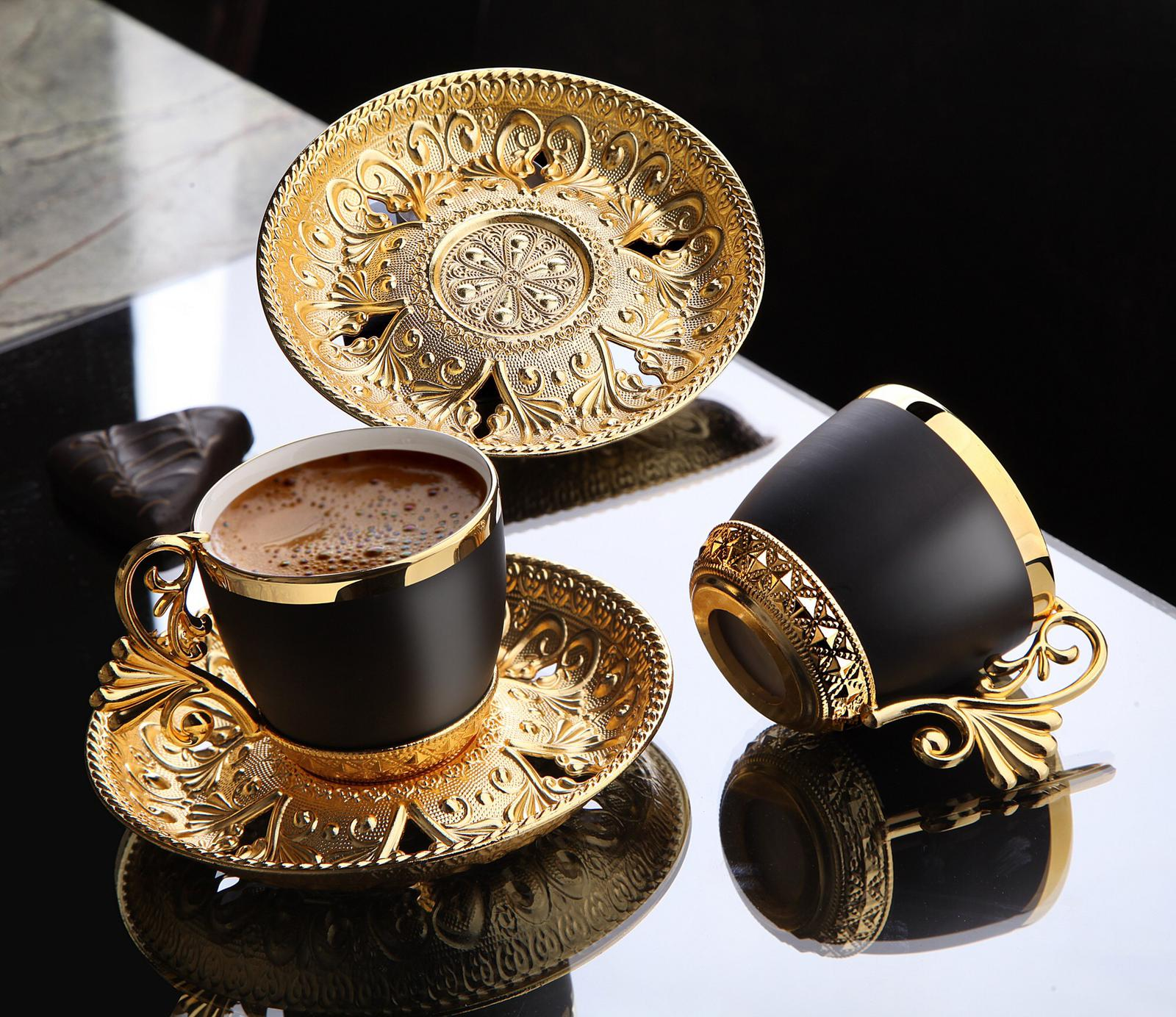 12 Pieces Turkish Coffee Cups Espresso Porcelain  Demitasse Cup Saucer Black Cups (Gold) Vintage Arabic Gift Set