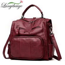 2018 Women Leather Backpacks School Bags For Teenager Girls Multifunction Woman Shoulder Bag Female Travel Backpack Sac A Dos