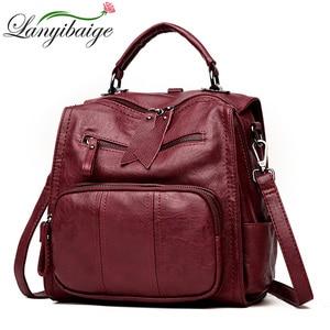 Image 1 - 2020 femmes en cuir sacs à Dos sacs décole pour adolescent filles multifonction femme Sac à bandoulière femme voyage Sac à Dos Sac A Dos