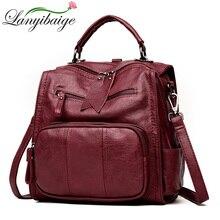 2020 kadın deri sırt çantaları okul çantaları genç kızlar için çok fonksiyonlu kadın omuzdan askili çanta kadın seyahat sırt çantası kese Dos