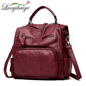 Image 1 - 2020 kobiet skórzane plecaki szkolne torby dla nastolatków dziewczyny wielofunkcyjna torba na ramię damska damski plecak podróżny Sac A Dos