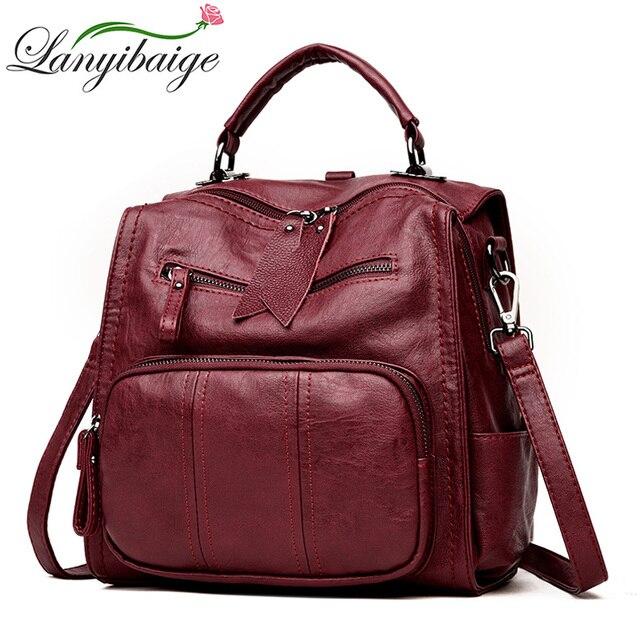 2020 kobiet skórzane plecaki szkolne torby dla nastolatków dziewczyny wielofunkcyjna torba na ramię damska damski plecak podróżny Sac A Dos