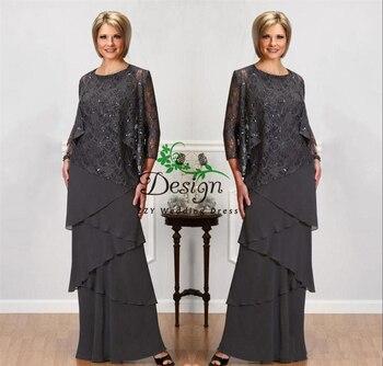 Vestidos grises de encaje para madre de la novia con mangas largas, chaquetas, cuello de Joya, vestidos de noche con lentejuelas, vestidos de mujer
