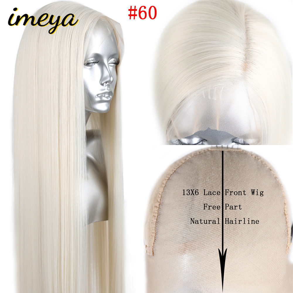 FANXITON #60 Hair Color Silky Straight Synthetic Lace Front Wig 13x6 Gluless Heat Resistant Lace Wig With Natural Part For Women