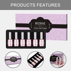 Image 5 - Mizhse gel polonês conjunto para manicure kit 6 pçs/lote cores uv semi permanente híbrido unha arte gel laca uv led lâmpada design