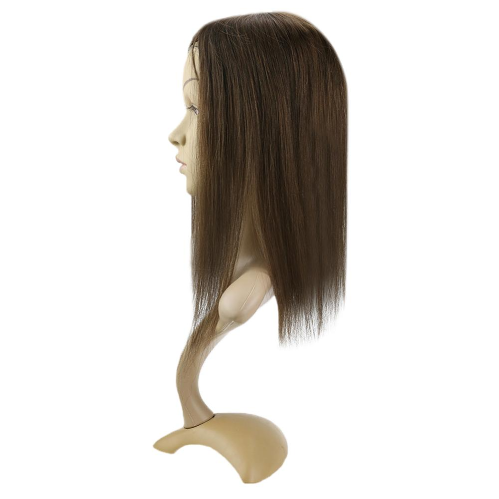 Full Shine Color #4 Medium Brown Machine Made Remy Topper 12*6cm Crown For Women Mono Toppers With Clop Toupee For Thinning Hair