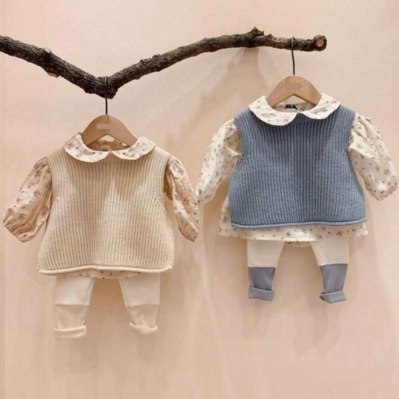 New Toddler Baby Boys And Girls Solid Sleeveless Knit Pullover Vest Sweater Fashion Newborn Baby Knitted Waistcoat Tops